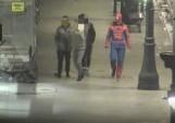 W nocy po Piotrkowskiej spacerował... Spiderman. Wspinał się na latarnię i przeskakiwał stojaki rowerowe[FILM, zdjęcia]