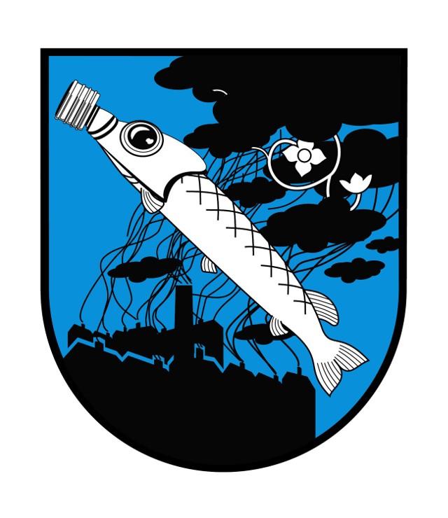 Rybnik: Nowy herb Rybnika - szczupak w masce gazowej