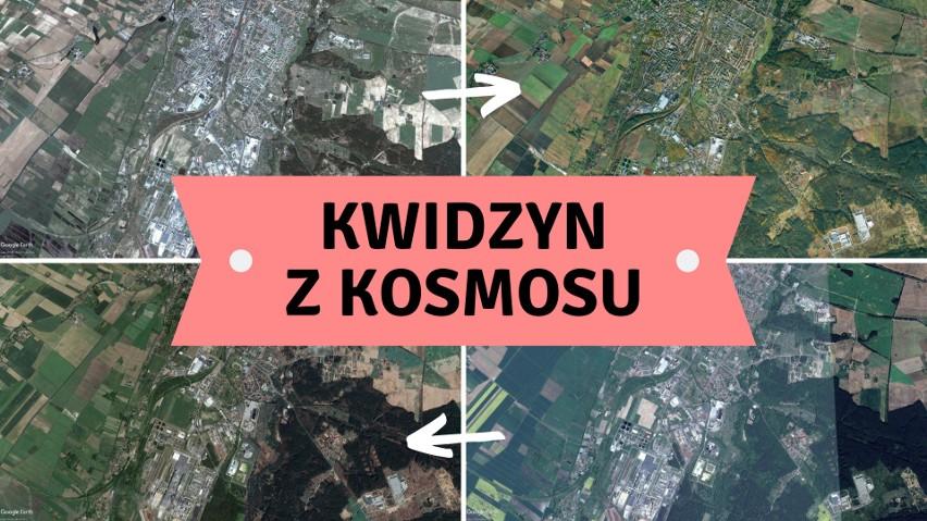 Kwidzyn widziany z kosmosu! Zobaczcie, jak zmieniało się miasto. Niecodzienna perspektywa!