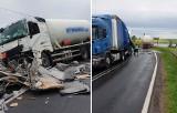 Kolizja cysterny z pojazdem ciężarowym na DK25 w Mąkowarsku [zdjęcia]
