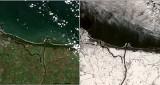 Pomorze przykryte śniegiem widziane z satelity. Niesamowite zdjęcia! Widać też m.in. falę powodziową, sinice i zamarznięty Zalew Wiślany