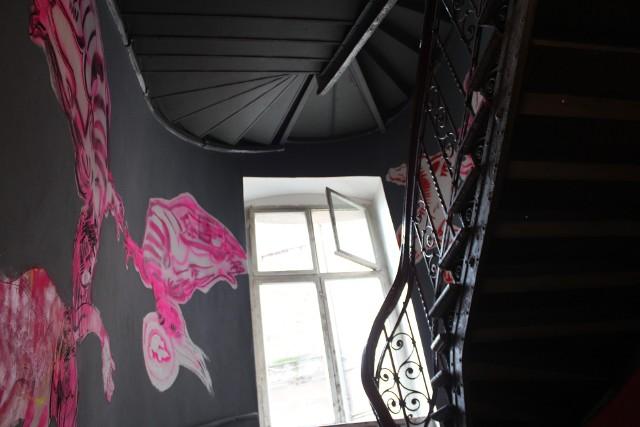 Malunki Anki Mierzejewskiej na klatce schodowej kamienicy przy ul. Cybulskiego we WrocławiuNiezwykła metamorfoza klatki schodowej. Sztuka wyszła poza pracownie (ZDJĘCIA)