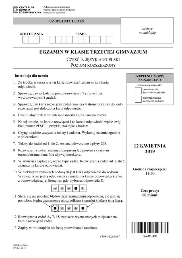 Egzamin gimnazjalny 2019 ANGIELSKI rozszerzony