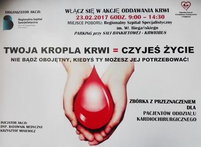 Jak wynika z informacji Regionalnego Centrum Krwiodawstwa i Krwiolecznictwa w Bydgoszczy, które rozdysponowuje krew po szpitalach w całym województwie, pilnie potrzeba  krwi z grup: A, O, B i AB RhD -.