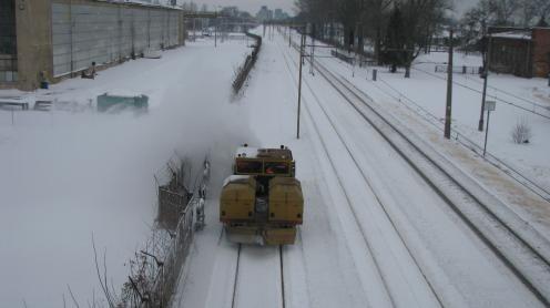 Odśnieżanie torów w obrębie stacji Białystok Starosielce