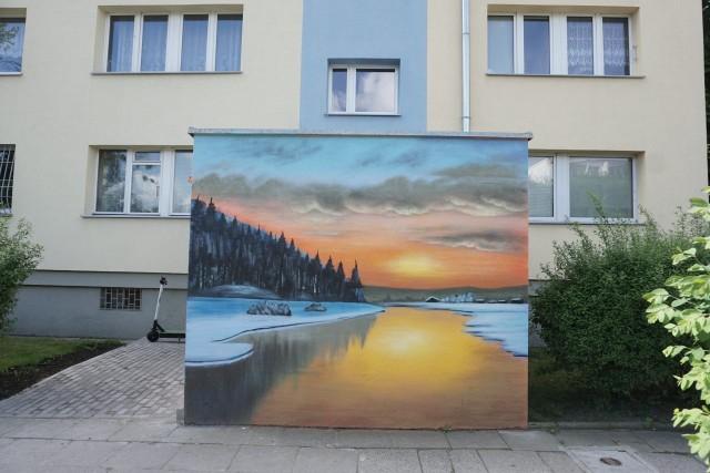 Mieszkańcy czteropiętrowego bloku nr 2 na Retkini przy alei Wyszyńskiego 6 mają wyjątkowe wejścia do swoich klatek schodowych. Zdobią je murale.