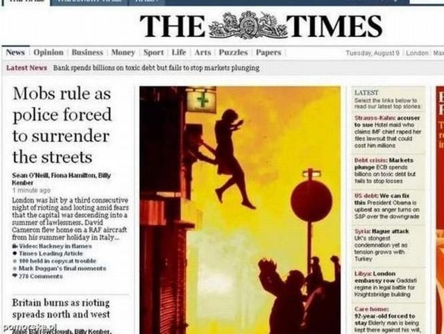 Zdjęcie skaczącej z okna płonącego domu w Londynie Moniki Kończyk było na czołówkach niemal wszystkich londyńskich gazet