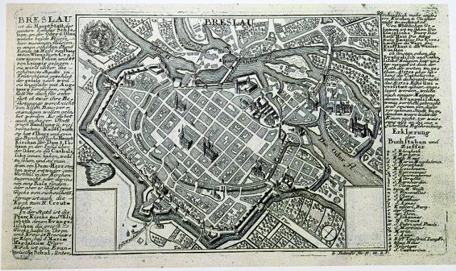 Wrocław na planie  Bodenehra z 1727 roku. Miasto niewiele zmieniło się od czasów wizyty Radziwiłła