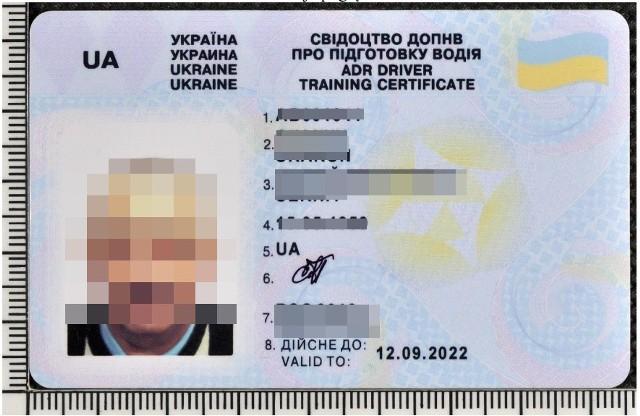 Przedstawione przez Ukraińca, fałszywe zaświadczenie ADR.