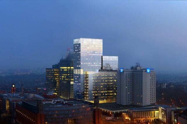 """26-kondygnacyjny budynek biurowo-usługowo-mieszkalny """"Silver"""" dostał zielone światło. Powstanie na placu Andersa obok kompleksu hoteli Novotel i Andersia. Zobacz więcej wizualizacji --->"""