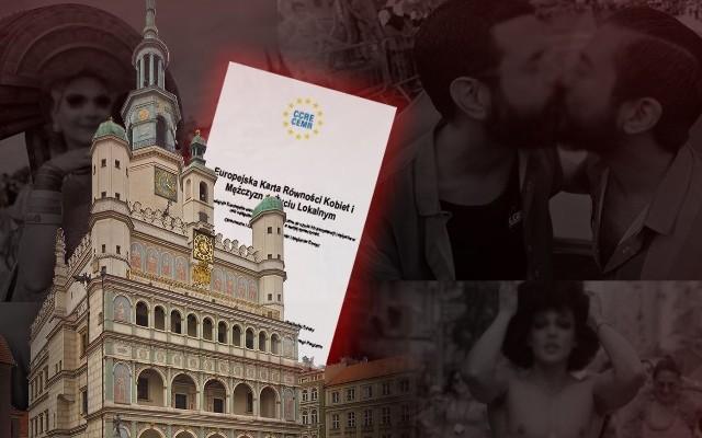 """Autorzy petycji nawołują do jej podpisania i """"zatrzymania genderowej karty w Poznaniu"""". Na swojej stronie Europejską Kartę Równości Kobiet i Mężczyzn zamieścili w tle zdjęcia z parad środowisk LGBT."""