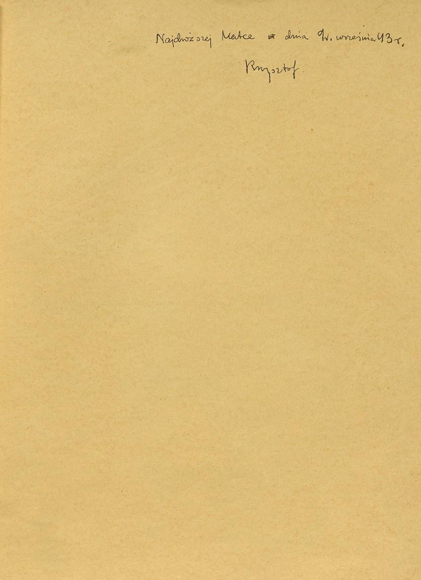 K.K. Baczyński - reprint, strona z dedykacją autora