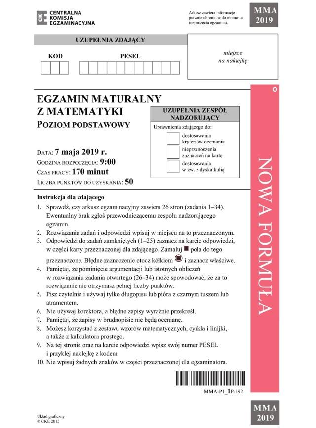 Matura 2019 Matematyka Podstawowa Odpowiedzi I Arkusze Z