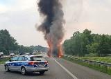 Pożar naczepy ciężarówki na A4 przy węźle autostradowym Opole Zachód