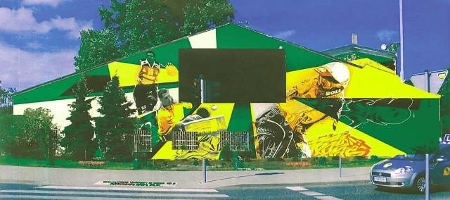 Tak wygląda wstępny projekt graffiti, które znajdzie się na budynku dawnego sklepu