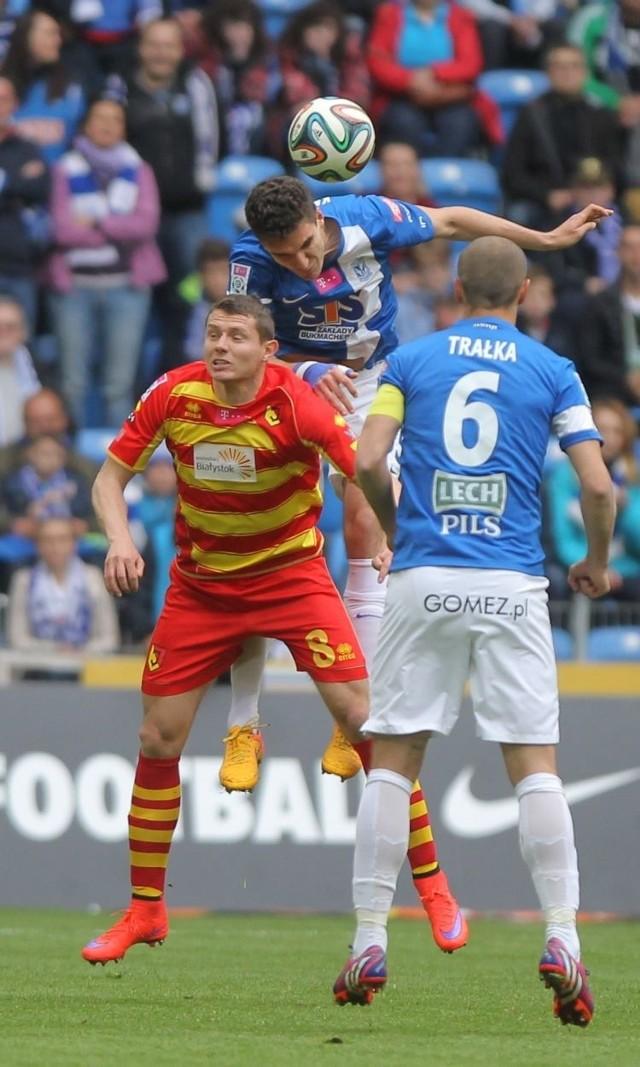 Pomocnik Jagi Przemysław Frankowski (nr 21) w drugim kolejnym meczu zdobył bramkę, jednak tym razem nie dała ona kompletu punktów