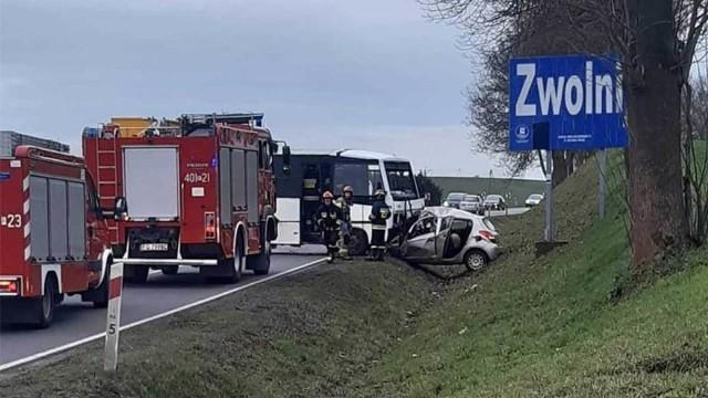 Droga po wypadku została całkowicie zablokowana