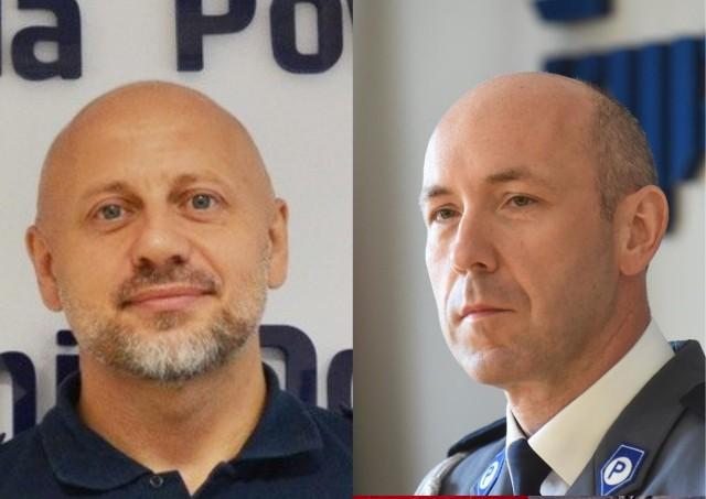 Mł. insp.  Maciej Sipek (z lewej) zastąpi insp. Jarosława Tchorowskiego do czasu powołania nowego komendanta
