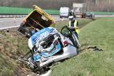 Wypadek na A4. Tir staranował radiowóz. Są ranni, autostrada zablokowana