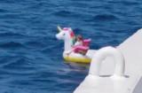 Kilkuletnia dziewczynka na dmuchanym jednorożcu dryfowała po pełnym morzu. Uratowała ją załoga promu [wideo] 26.08.2020 r.