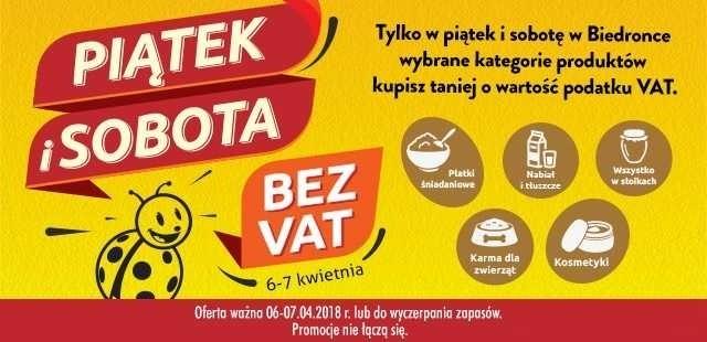 Biedronka bez VAT. Weekendowa promocja w Biedronce w piątek...