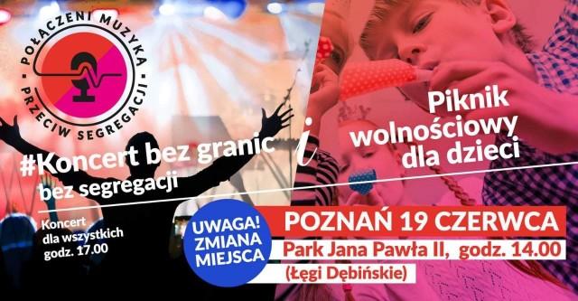 """W sobotę, 19 czerwca na Łęgach Dębińskich odbędzie się wyjątkowy koncert """"Połączeni muzyką - przeciw segregacji!""""."""