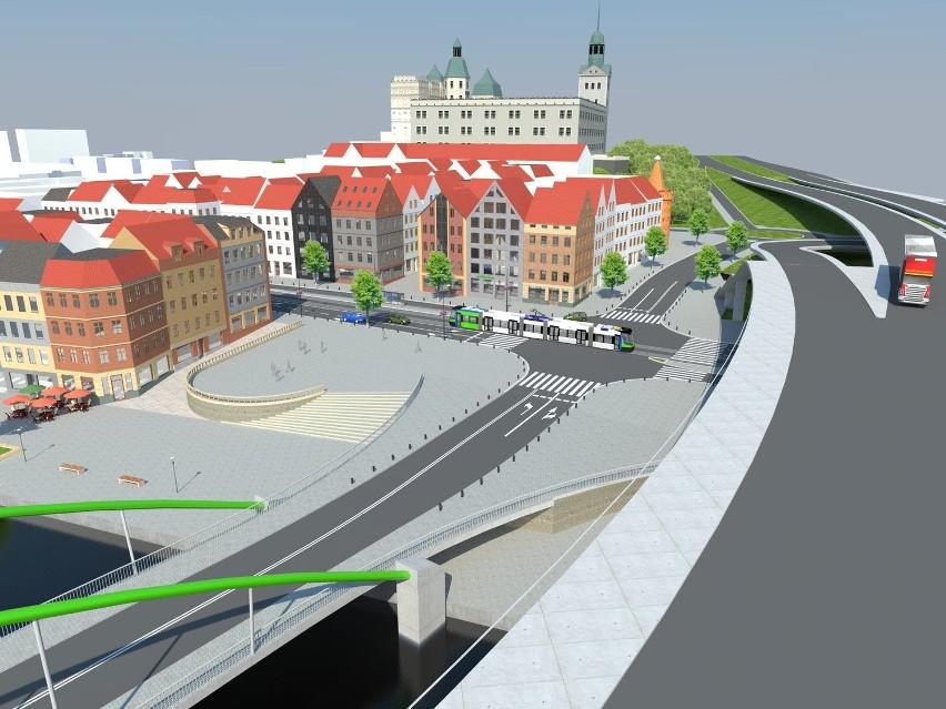 Widok na zabudowany Bulwar Piastowski z Trasy Zamkowej, po lewej na dole Most Kłodny, nie ma łącznicy z Nabrzeża Wieleckiego z Trasą Zamkową.