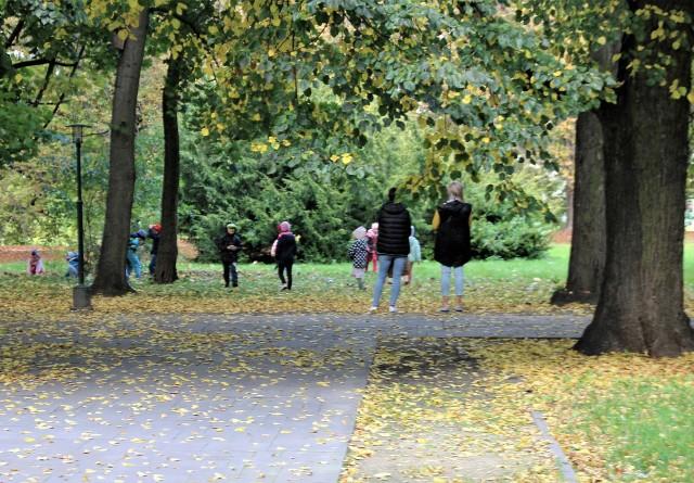 Dzieci bawiące się w zamojskim Parku Miejskim