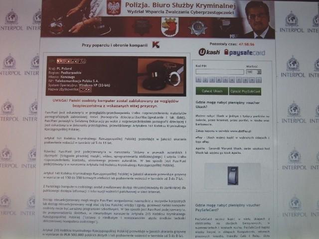 Wirus z wizerunkiem prezydenta Polski Bronisława Komorowskiego zaatakował komputer przemyślanina.
