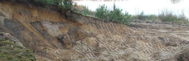 Rozkopane tereny nad zalewem w Wykrocie