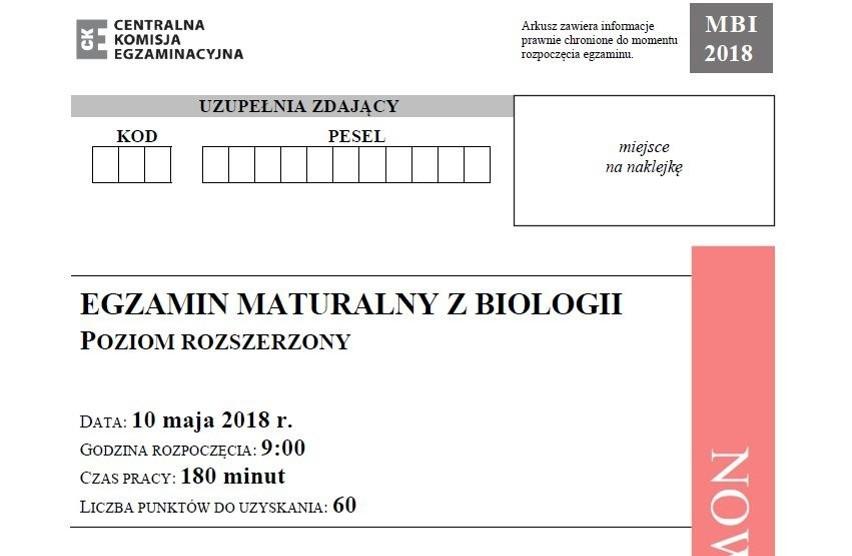 Matura 2018 biologia, poziom rozszerzony [arkusze,...