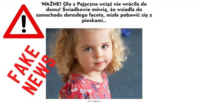 Porwanie 11-letniej Oli z Pajęczna? To fałszywa informacja! Uwaga, to może próba wyłudzenia danych