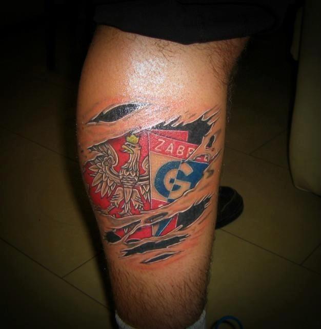 Tatuaże kibiców Górnika Zabrze....