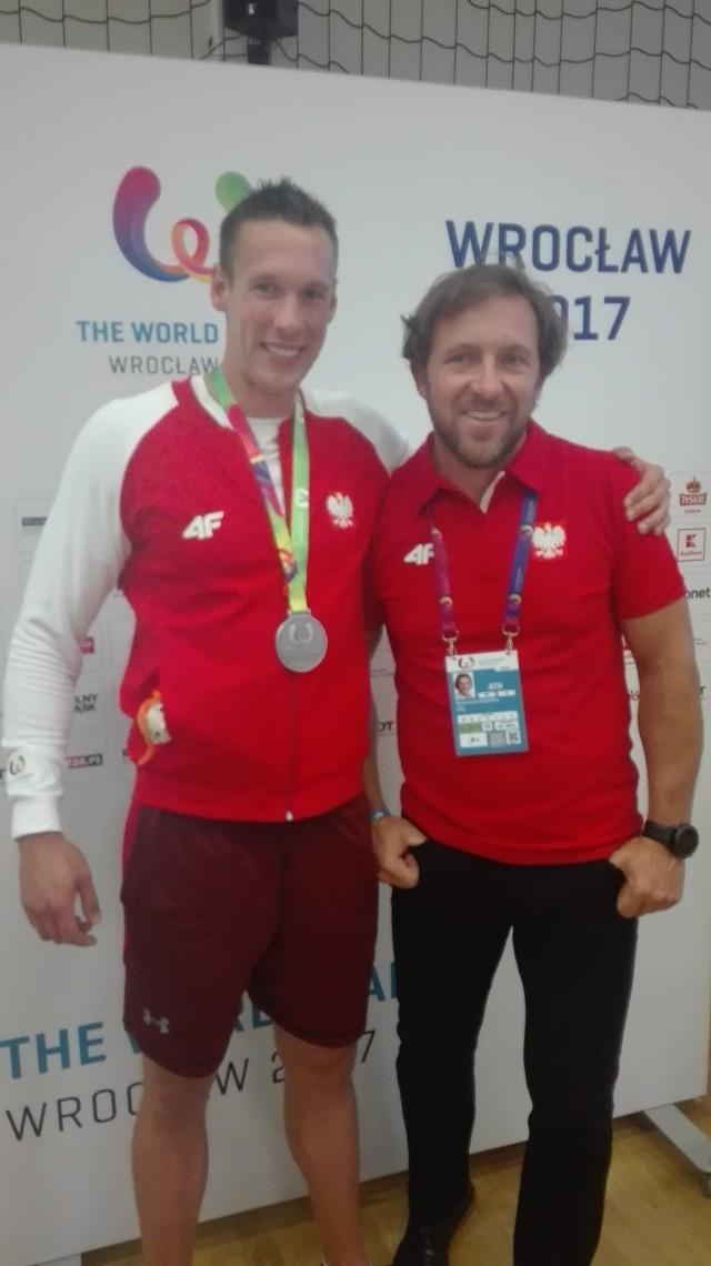 Bartosz Zabłocki (z lewej) ze swoim trenerem Markiem Kolbowiczem