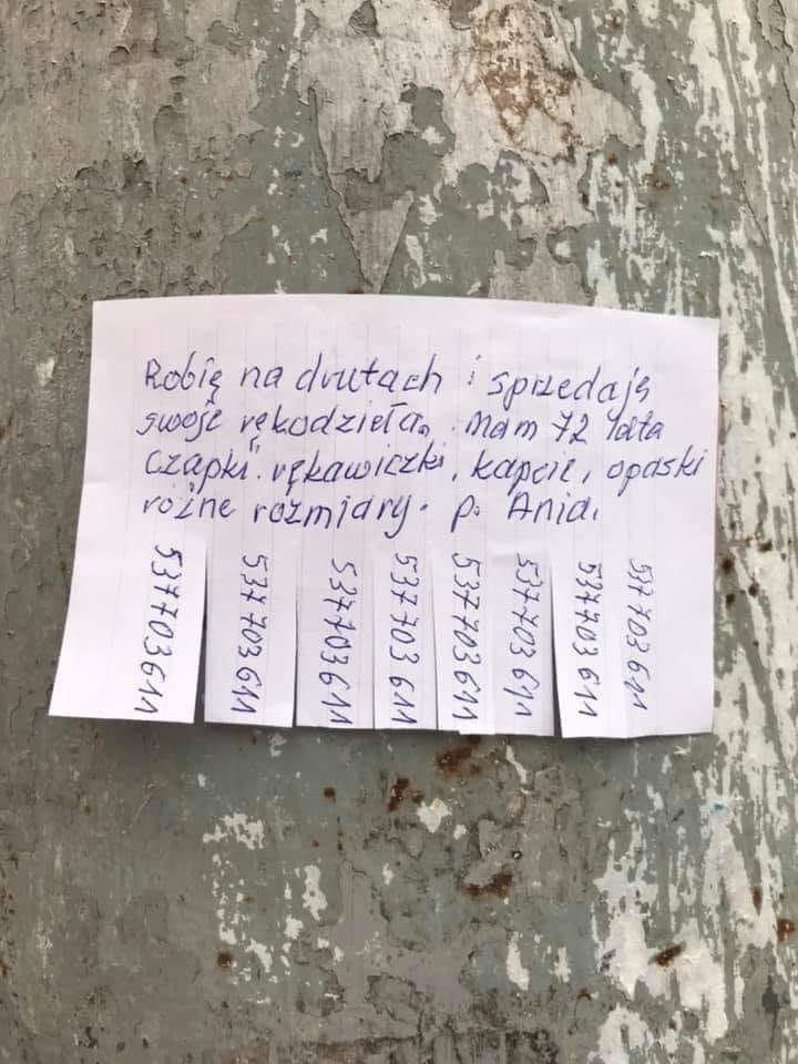 Zdjęcie ogłoszenia pani Ani, które wisi na słupie przy ul....