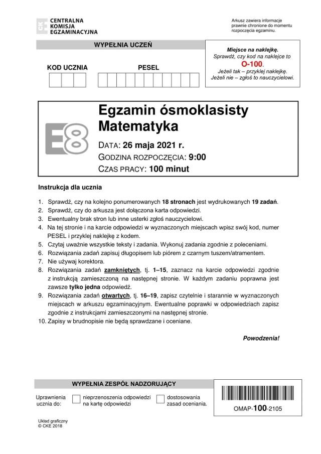 Egzamin ósmoklasisty matematyka 2021. Arkusz CKE. Zobacz zadania i sugerowane wyniki i odpowiedzi na kolejnych slajdach.
