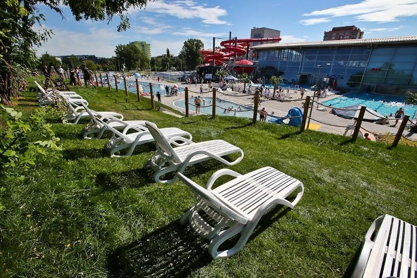 Aby nadać tropikalnego klimatu, wokół nowych basenów...
