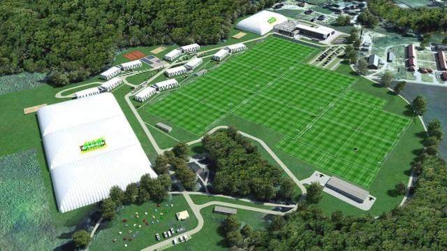 Wizualizacje ośrodka piłkarskiego w dzielnicy Świątki.