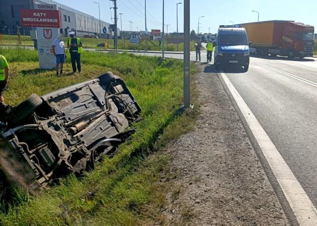 Wypadek na węźle Pietrzykowice przy autostradzie A4 9.09.2021