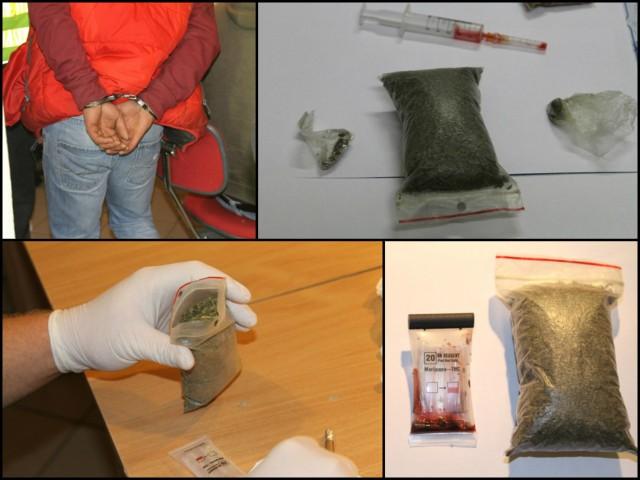 Przy zatrzymanych policjanci znaleźli marihuanę i inne środki odurzające.