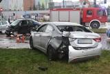 Wypadek policyjnego radiowozu i smarta. Duże utrudnienia na skrzyżowaniu Armii Krajowej i Borowskiej
