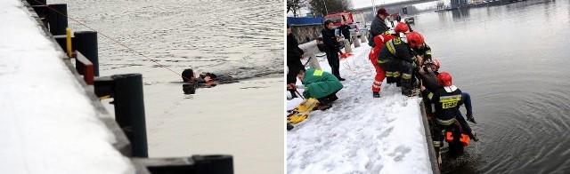 Strażacy wyciągnęli kobietę z Odry przy Nabrzeżu Wieleckim tuż za mostem Długim