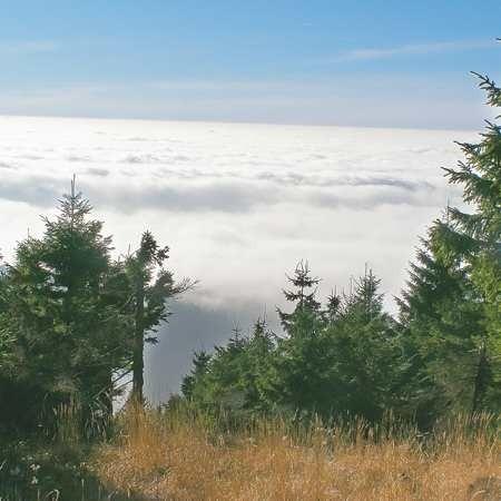 Widok z Velkiej Destnej. Inwersja sprawiła, że chmury zalegały poniżej szczytu.