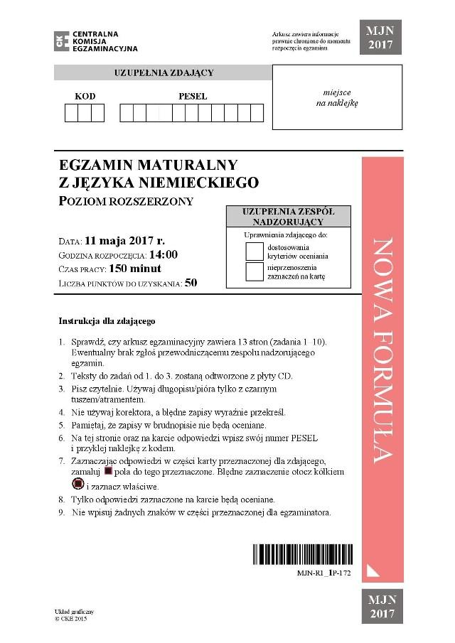 Matura 2017. Język NIEMIECKI rozszerzony ODPOWIEDZI, CKE ARKUSZ