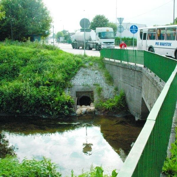 Strażacy zabezpieczyli wylot  kanalizacyjny do rzeki Białej w okolicy ul. Poleskiej przy pomocy specjalnych kostek słomy