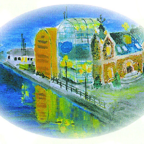 Pałacyk Lloyda i stylizowane na spichrze gmachy banku namalowała 14-letnia Ewa Wrzos.