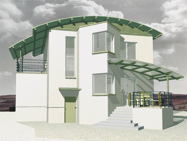 Dobudówka nie zabrała zbyt wiele powierzchni działki, całkowicie odmieniła natomiast kształt budynku.