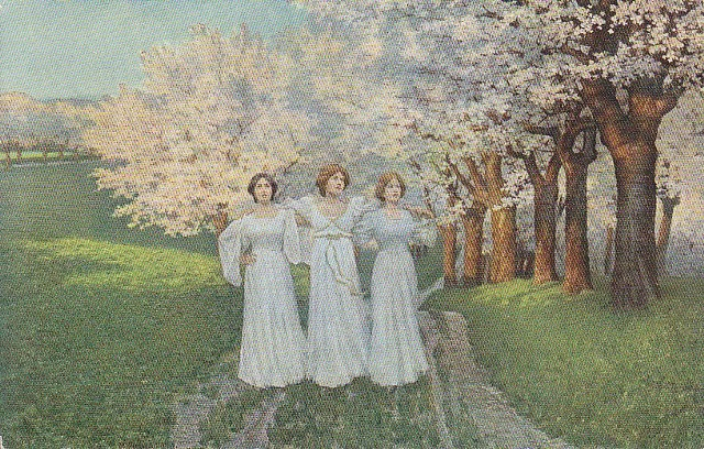 Widokówki wiosenne nawet i sprzed ponad 100 lat