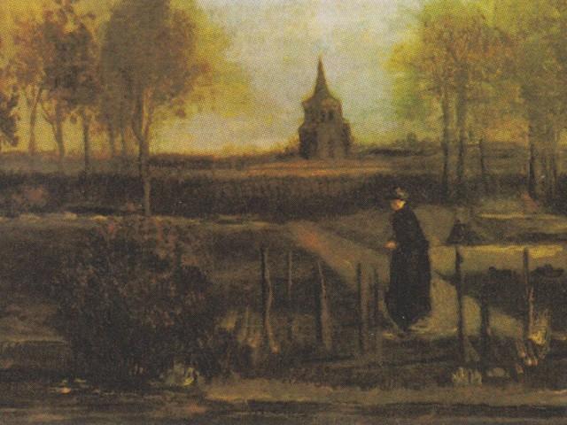 """""""Wiosenny ogród"""", znany również jako """"Ogród przy plebanii w Nuenen wiosną"""", przedstawia miejsce, w którym mieszkał Vincent Van Gogh w latach 1883-1885."""