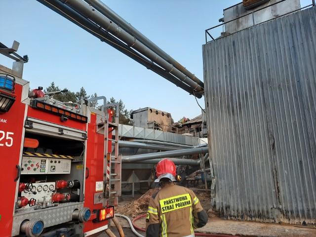 Pożar w zakładzie drzewnym w Barnowie